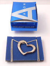 LOVELY AVON PAVE HEART PENDANT NECKLACE RHINESTONE IN SILVERTONE NOS 2007