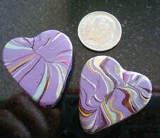 2 Fimo purple heart swirl beads handmade lrg pendant size 28mm large hole GBS032