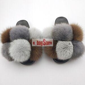 Fashion Women's Fox Fur Pom Pom Slippers Slides Slipper Fluffy Shoes Sandals New