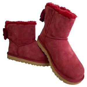 UGG Australia NIB 8 fits like 9 Mini Bailey Corduroy Bow Boots Kiss Red Burgundy