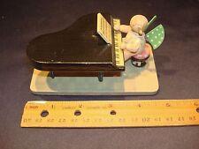 Vintage Wendt Kuhn Erzgebirge Wooden Angel Grand Piano 11 Dots Paper Label WUK