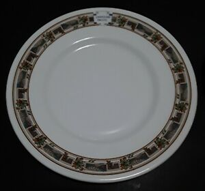 SET FOUR VINTAGE CANADIAN PACIFIC RAILWAY BROWN MAPLE LEAF PATTERN DINNER PLATES