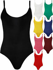 New Ladies Womens Sleeveless Cami Bodysuit Thin Strap Leotard