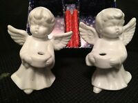 """NOS Pair of Ceramic 4"""" Wing Spread Cherub Angel Candle Holder Figurines +Candles"""