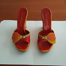 CASADEI MULTICOLOR LEATHER SLIDES SIZE 36 (US 6) MADE IN ITALY