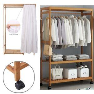 Kleiderschrank Mobiler Dielenschrank offen Garderobe auf Rollen mit Vorhang DE