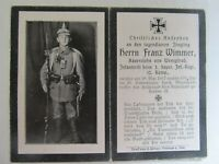 VERY RARE WWI German Death Card, KiA MINE EXPLOSION DIRECT HIT, Rifle, Wimmer