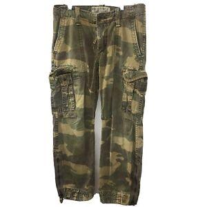 Abercrombie Fitch Men's S 33x30 Heavy Duty Camo Military Cargo Pants Paratrooper
