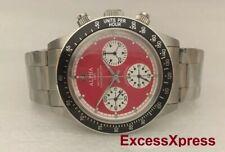 Brand New ALPHA WATCH DAYTONA RED DIAL PAUL NEWMAN CLEAR BACK Chronograph