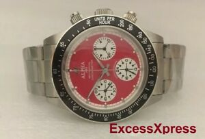 Brand New ALPHA WATCH DAYTONA RED DIAL PAUL NEWMAN CLEAR BACK Chronograph
