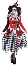 Ladies Harlequin Evil Clown Halloween Horror Circus Fancy Dress Costume Outfit