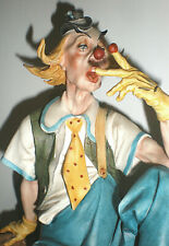 DETAILED- CAPODIMONTE LARGE CLOWN ON BENCH W/ HAMMER HURT FINGER SIGNED-NUMBERED
