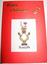 """Christmas Card Completed Cross Stitch I Love Rudolph 6x4"""""""