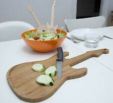 Kikkerland Bamboo Cutting Food Wooden Guitar Chopping Board Serving Boards