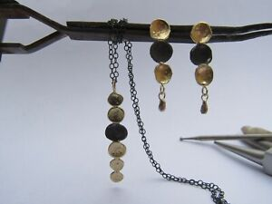 Set of earrings and necklace.14k yellow gold & oxidized sterling silver.Handmade