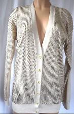 Stella MacCartney Beige Wool/Silk Beaded Front Button Closure Cardigan Size 44