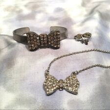 NEW FOREVER 21 Faux Diamond Bow Jewelry Silver Bracelet Necklace Ring LOT OF 3
