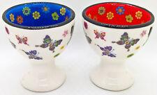 4er-Set Keramik Eierbecher mit Schmetterlingen und Blumen verziert
