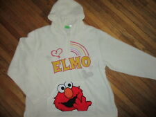 ELMO FLEECE HOODIE Hooded Pullover Sweatshirt Embroidered White Adult Large