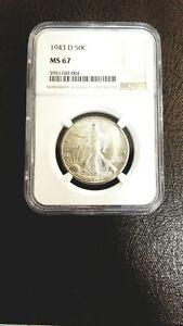 1943 D NGC MS67 Walking Liberty Half Dollar 50c