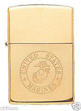 USMC Marine Corps Solid Brass Engraved EGA Logo Military Zippo Lighter Semper Fi