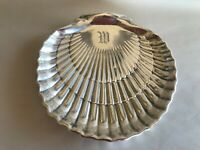 VINTAGE TO OLDER GORHAM STERLING SILVER SHELL FOOTED DISH 6 X 6 MONOGRAM W