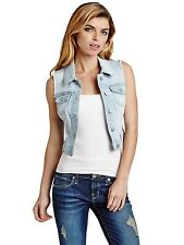 Guess Vest Women's Cropped Denim Vest Jacket w Frayed Detailing L Light Wash NWT