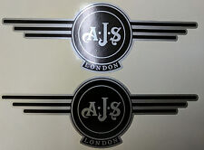 AJS London Stickers x2 A.J.S Decals Logo Tank Motorcycle Vintage Black & Silver