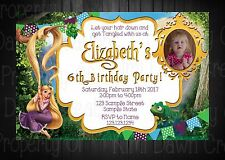 Rapunzel With Picture Custom Invitation & Thank You- Digital File Only!