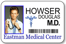 DOUGLAS DOOGIE HOWSER M.D. KID DOCTOR NAME BADGE HALLOWEEN COSTUME MAGNETIC BACK