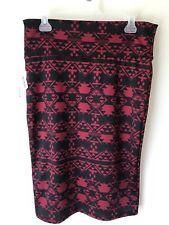 LuLaRoe L Large Cassie Knee Length Red Black Aztec Pencil Skirt. NWT!