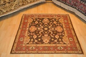 4x4 ft. FINE QUALITY Genuine handmade brown rug square hand-knotted Beige 4'x4'