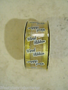 """NEW GOLD WIRE EDGE WOVEN LUSTRA RIBBON 1 1/2"""" x 10 YARDS FLORAL WEDDING CRAFT"""