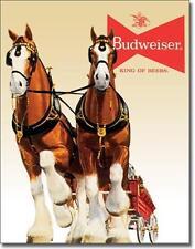 Pferde Gespann USA Budweiser Bier Metall Deko Plakat Werbung Schild
