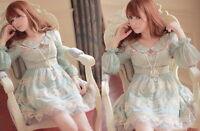 Kawaii Princess Sleeve Cute Sweet Dolly Gothic Lolita elegant Lace Dress Blue