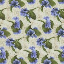 RJR Debbie Beaves Lovely Blue Cream Pansy Tone Floral Quilt Fabric 1446--003 3C