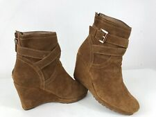 Moonson Suede Cushioned Platform Wedge Side Buckle Back Zipper Ankle Boots Tan 4