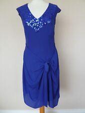 Coast Regal Purple Silky Sequin Wrap Tie Detail Dress Size 10 VGC Party Cruise
