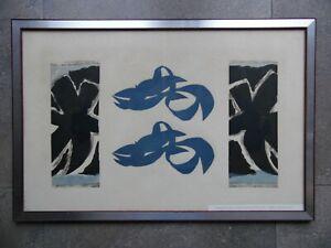Georges Braque 1962 Woodcut Si je mourais là-bas. Fenetres Poissons Bleu.