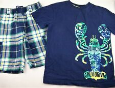 Boys GYMBOREE navy plaid lobster t shirt shorts outfit 8 nautical summer green