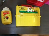 School Have Lunch SNOOPY Vintage Plastic Lunch Box Peanuts Charlie Thermos King