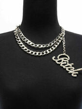 "Bling Rhinestone ""BITCH"" Statement Necklace DOUBLE LINK CHAIN Choker ~ SILVER"