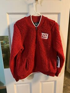 47 Brand Women's NY Giants 1/4 Zip Up Fleece Sweater Red Small Sherpa NWT NFL