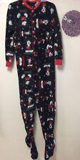 Ladies footed pajamas size medium DISNEY Mickey Mouse black red button 149