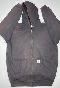 Mens Carhartt J149 Thermal Lined Hooded Jacket Working Zip Black Sz XL-Tall