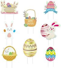 Cavla Pack of 8 Easter Yard Signs Decorations Bunny Eggs Lawn.