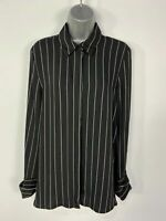 BNWT WOMENS NEXT UK 14 BLACK/WHITE STRIPE LONG SLEEVE SMART CASUAL SHIRT BLOUSE