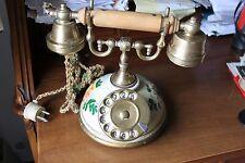 TELEFONO VINTAGE DECORATO A MANO DISCO IN LEGNO E OTTONE DELLA TELCER