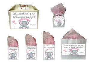 Personalised New Baby Girl Pink Elephant Gift Box Present Box Bag Collection