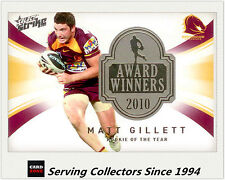 2011 Select NRL Strike Award Winners Card AW9 Matt Gillett - 2010 Rookie